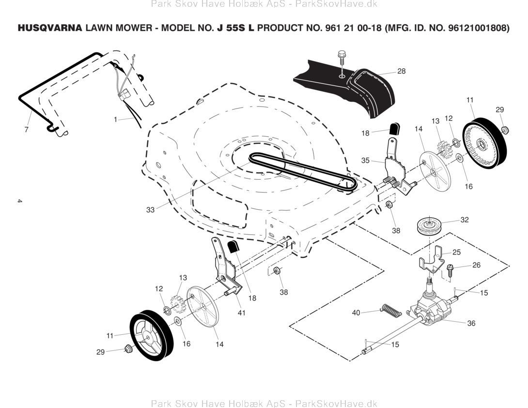 Reservedel Husqvarna J 55S L 96121001808 2013-11 Lawn Mower