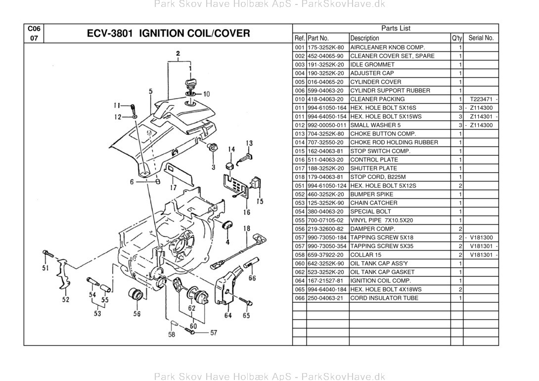 Reservedel Jonsered ECV 3801 Tanaka 2005-02 Chain saw