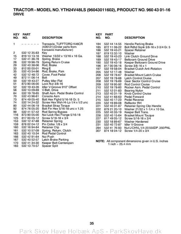 Reservedel HUSQVARNA, YTH24V48LS, 2011-07, 532445054, AAaa