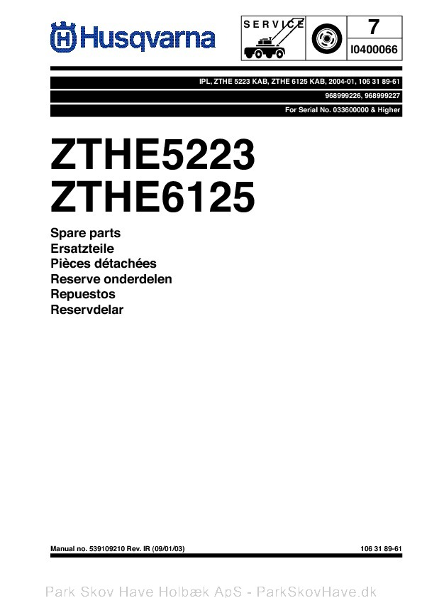 Reservedel ZTHE 5223 KAB, ZTHE 6125 KAB, 968999226
