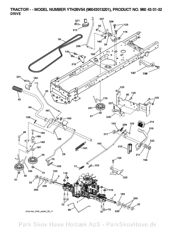 Reservedel YTH26V54, 96043013201, 2012-01, Tractor