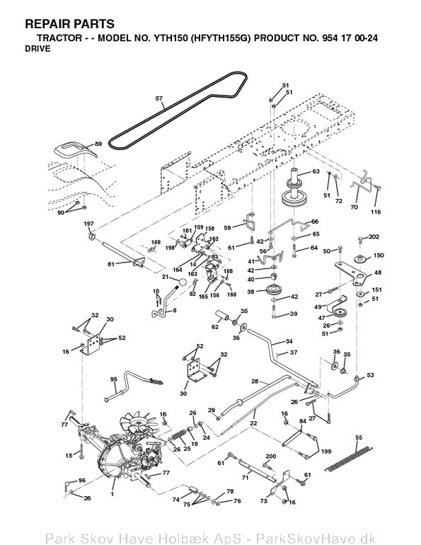 Reservedel YTH150, HFYTH155G, 2001-01, Tractor