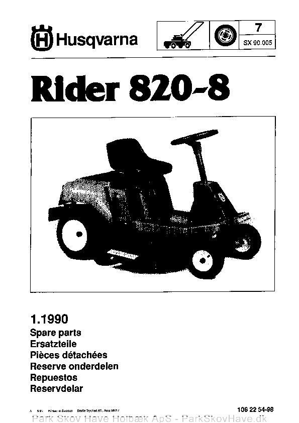Reservedel Husqvarna Rider 820-8, 1990-05