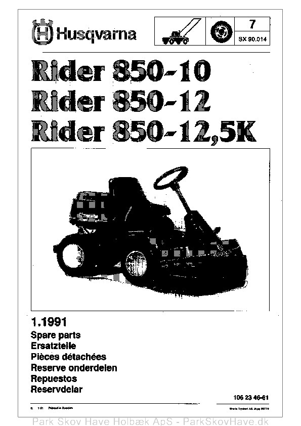 Reservedel Rider 850, 1991-01