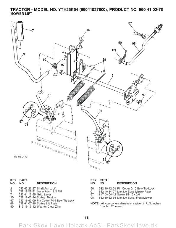 Reservedel YTH25K54, 96041027800, 2011-10, Tractor