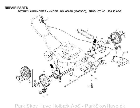 Reservedel 600 SD, J600SDD, 2000-03, Lawn Mower