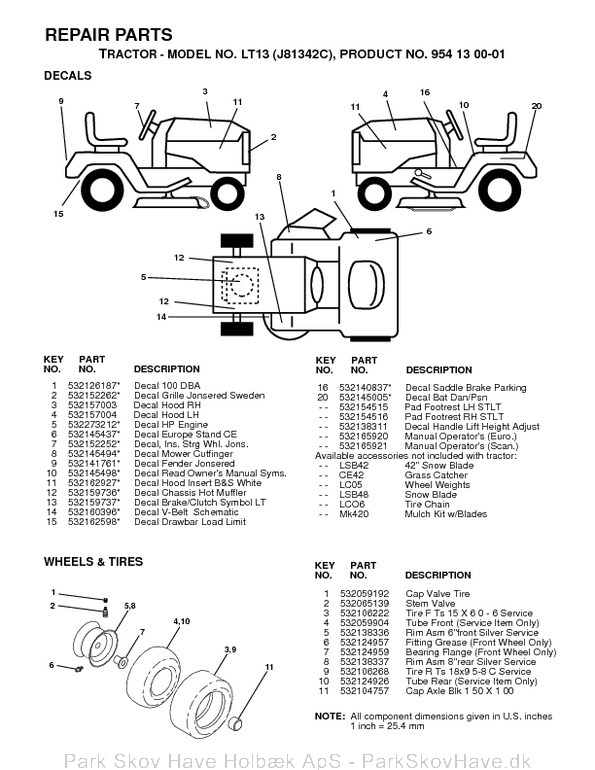 Reservedel LT13, J81342C, 1998-12, Tractor