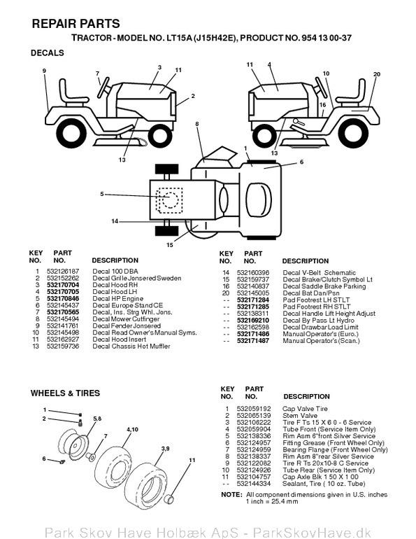 Reservedel LT15 A, J15H42E, 2000-02, Tractor