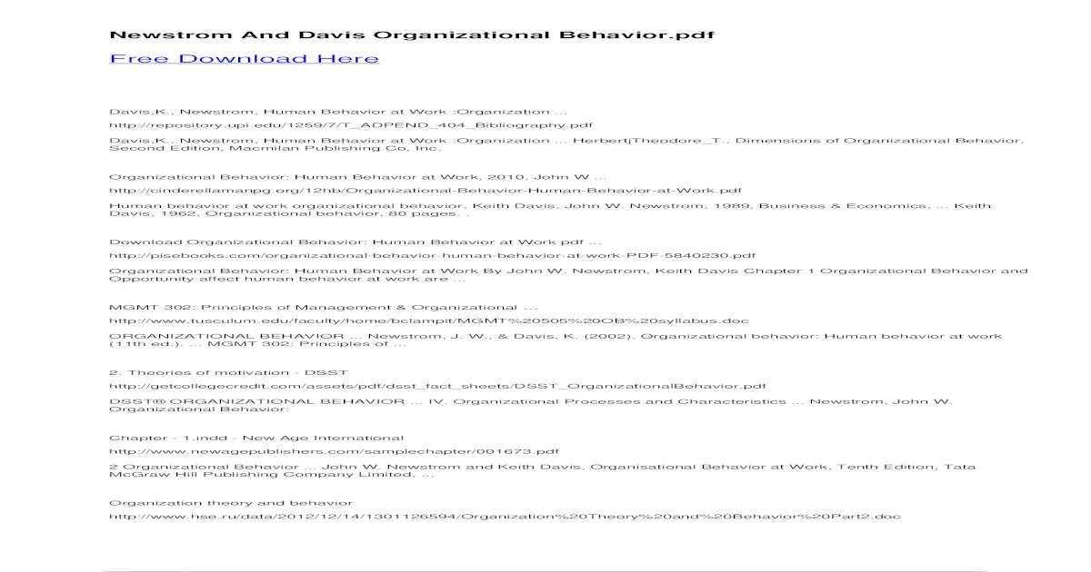 Newstrom And Davis Organizational And Davis Organizational