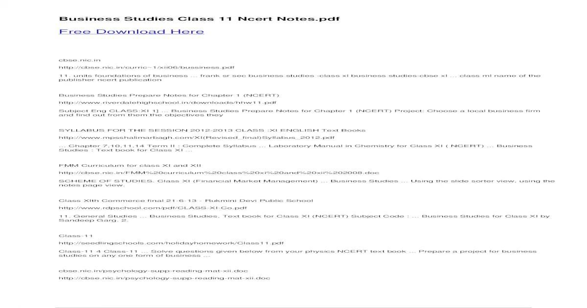 CLASSNOTES: Class 11 Physics Ncert Notes Pdf