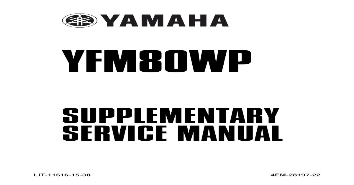 Yamaha Badger-Raptor 80 Service Manual