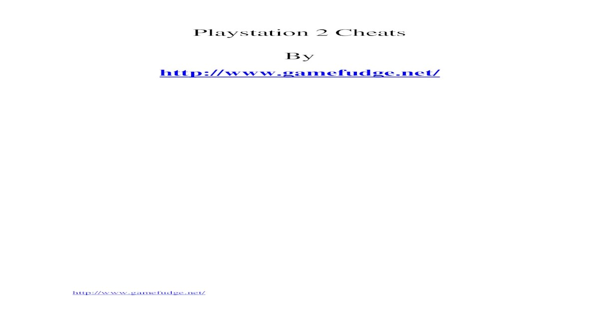 Playstation 2 Cheats