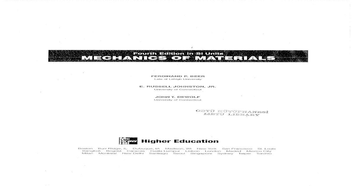 Mechanics of Materials Ferdinand P. Beer 4th Edition
