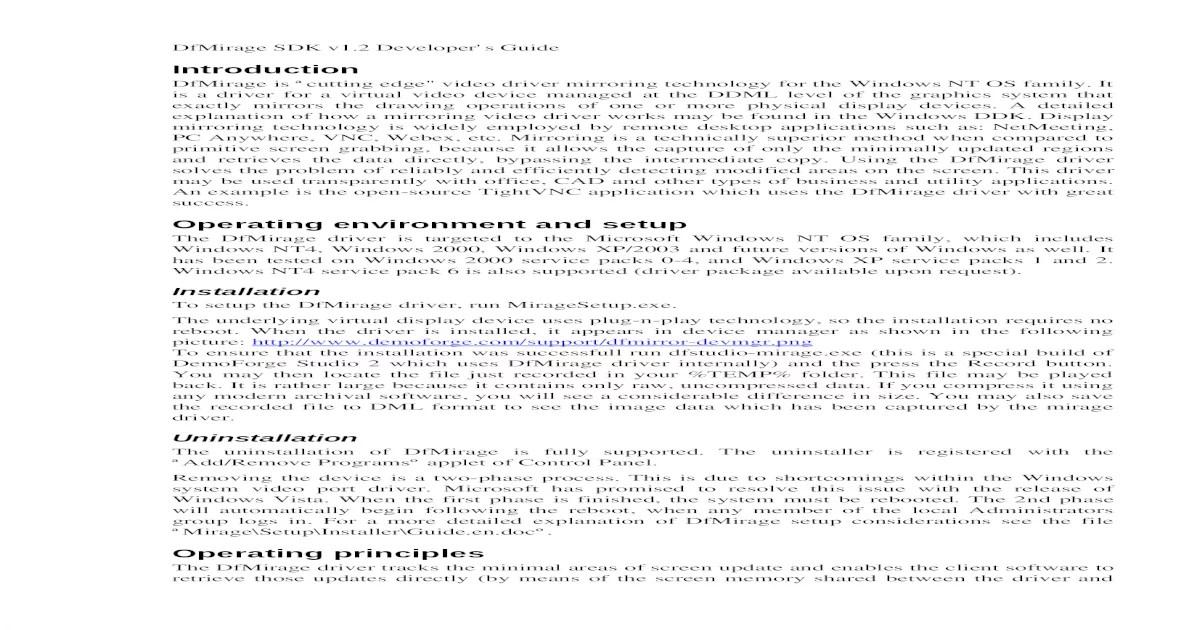 DfMirage SDK v1.2 Developers Guide