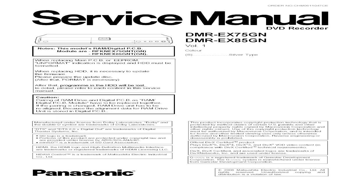 PANASONIC DMR-EX75-EX85