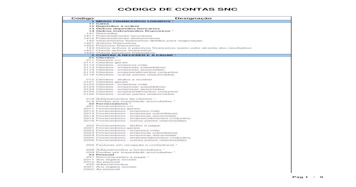 Codigo de Contas Snc