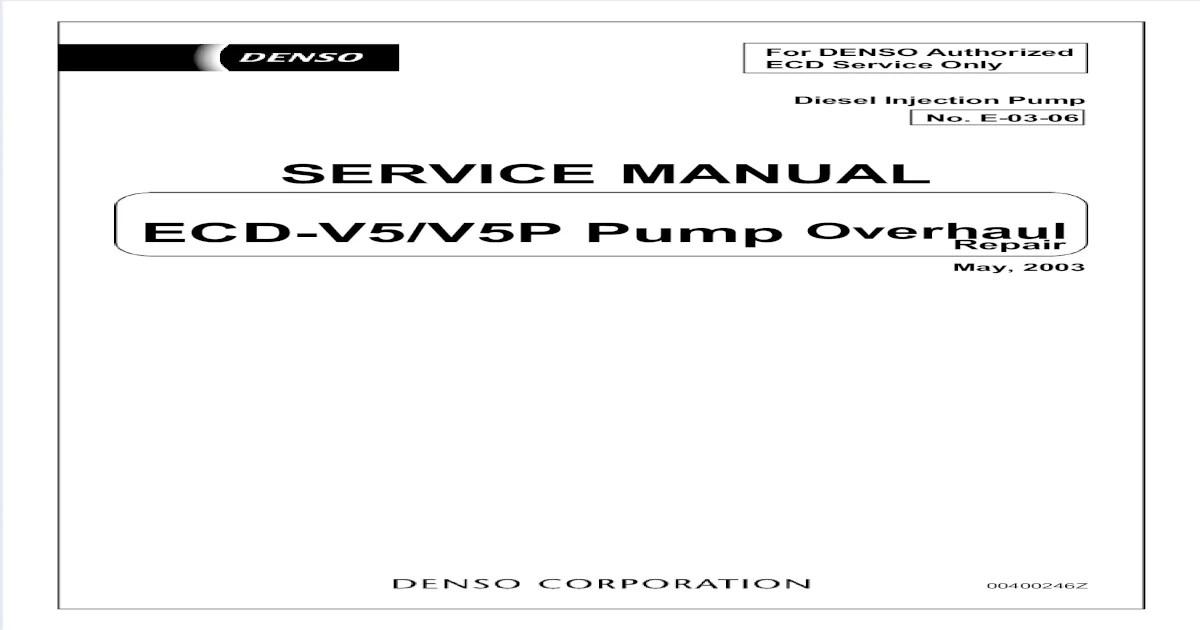 Ve Pump Denso Repair Manual