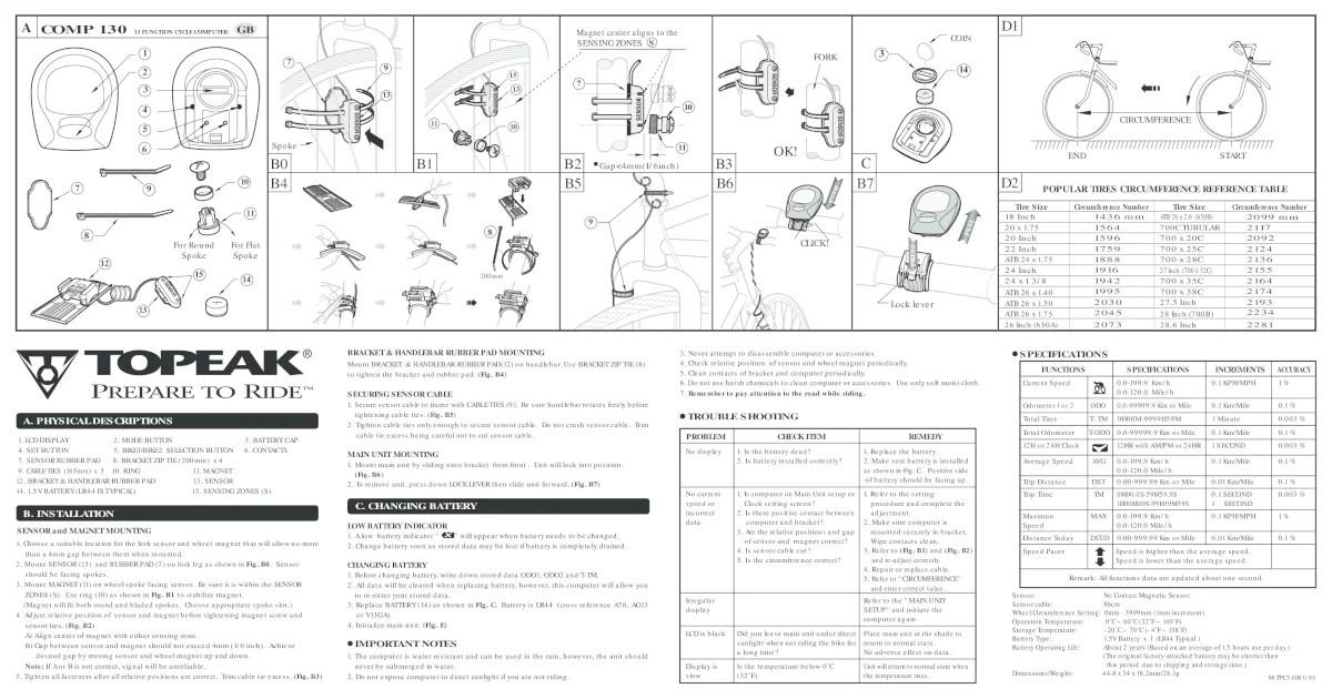 Topeak Bike Computer Manual