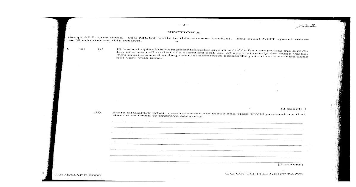 Physics Unit 2 CAPE Past Paper P1 and P2 2000-2004