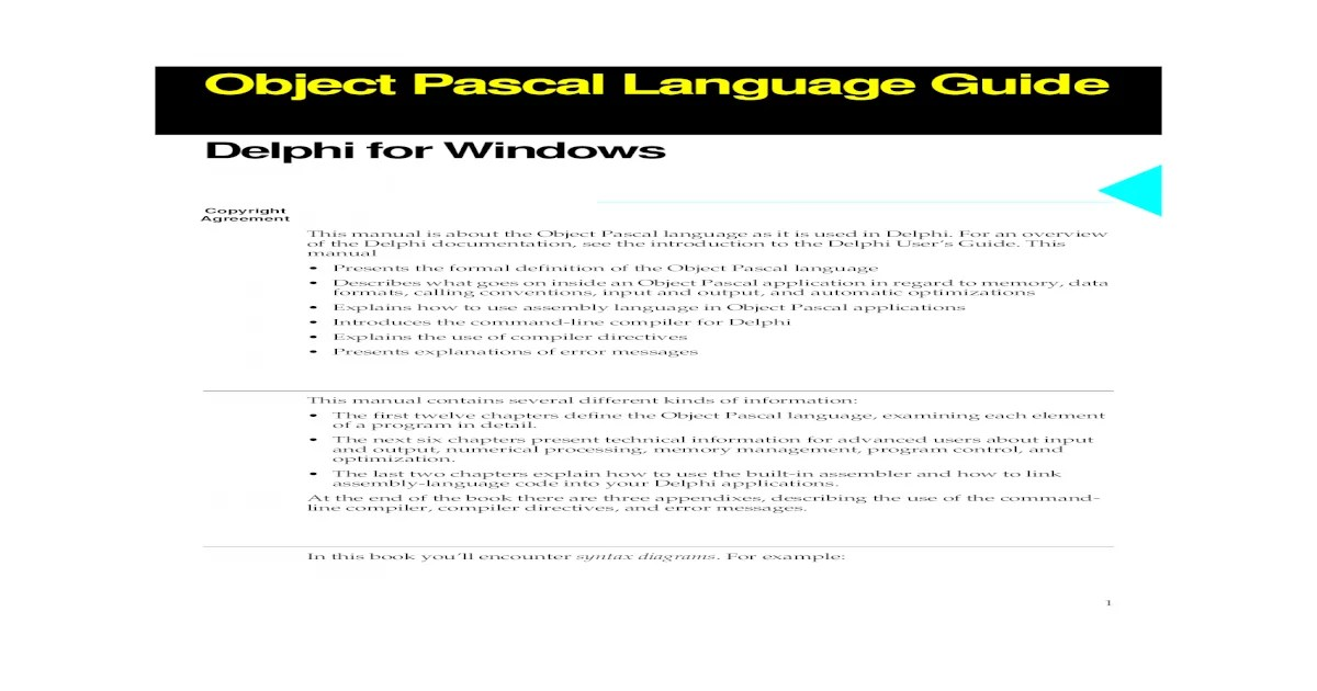 Delphi Object Pascal Language Guide
