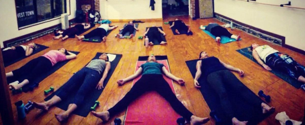 rustic yoga studio with great lighting