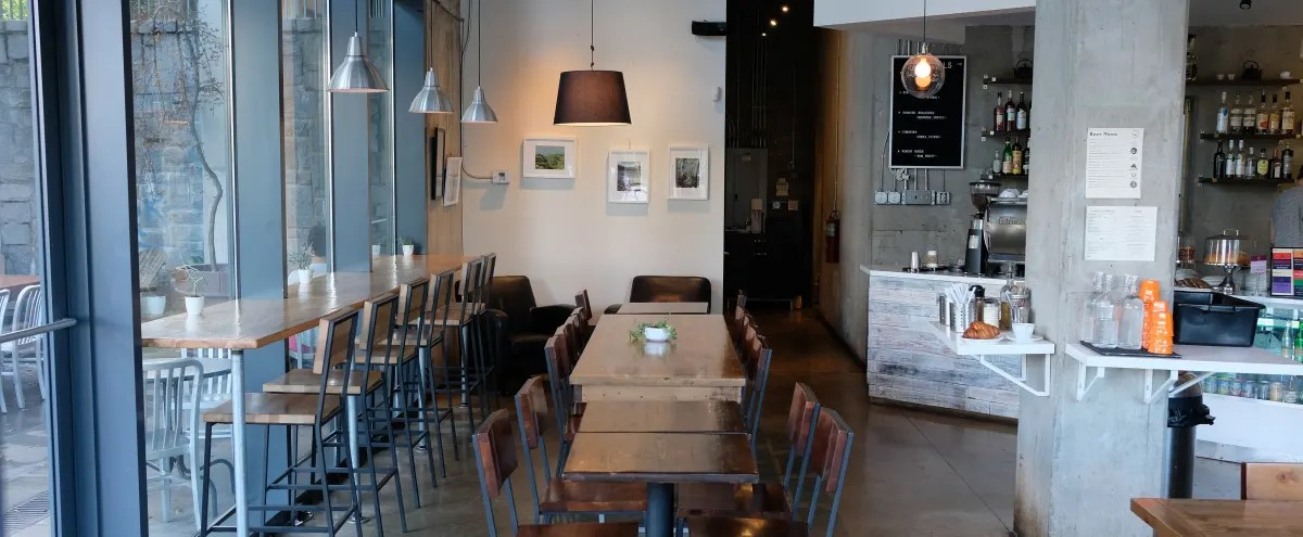stylish and spacious coffee shop with great natural lighting and high ceiling a perfect location to celebrate