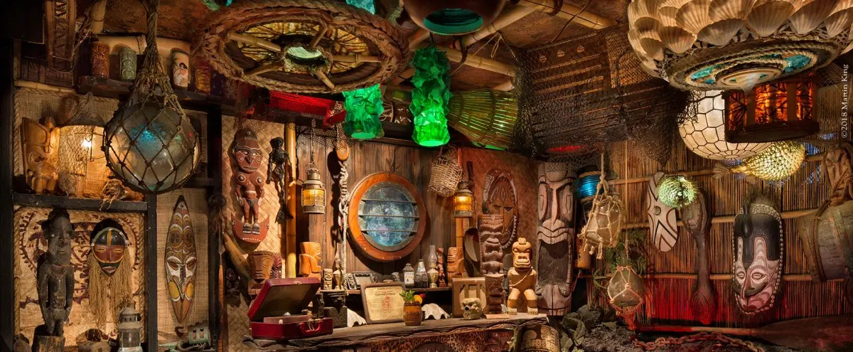 Elaborate tiki bar and volcano pond in Orange County