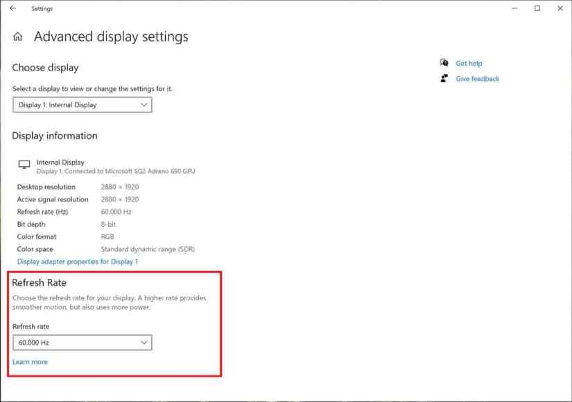 Windows 10 refresh rate