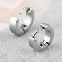 1 Pair Unique Cool Mens Stainless Steel Hoop Piercing Ear