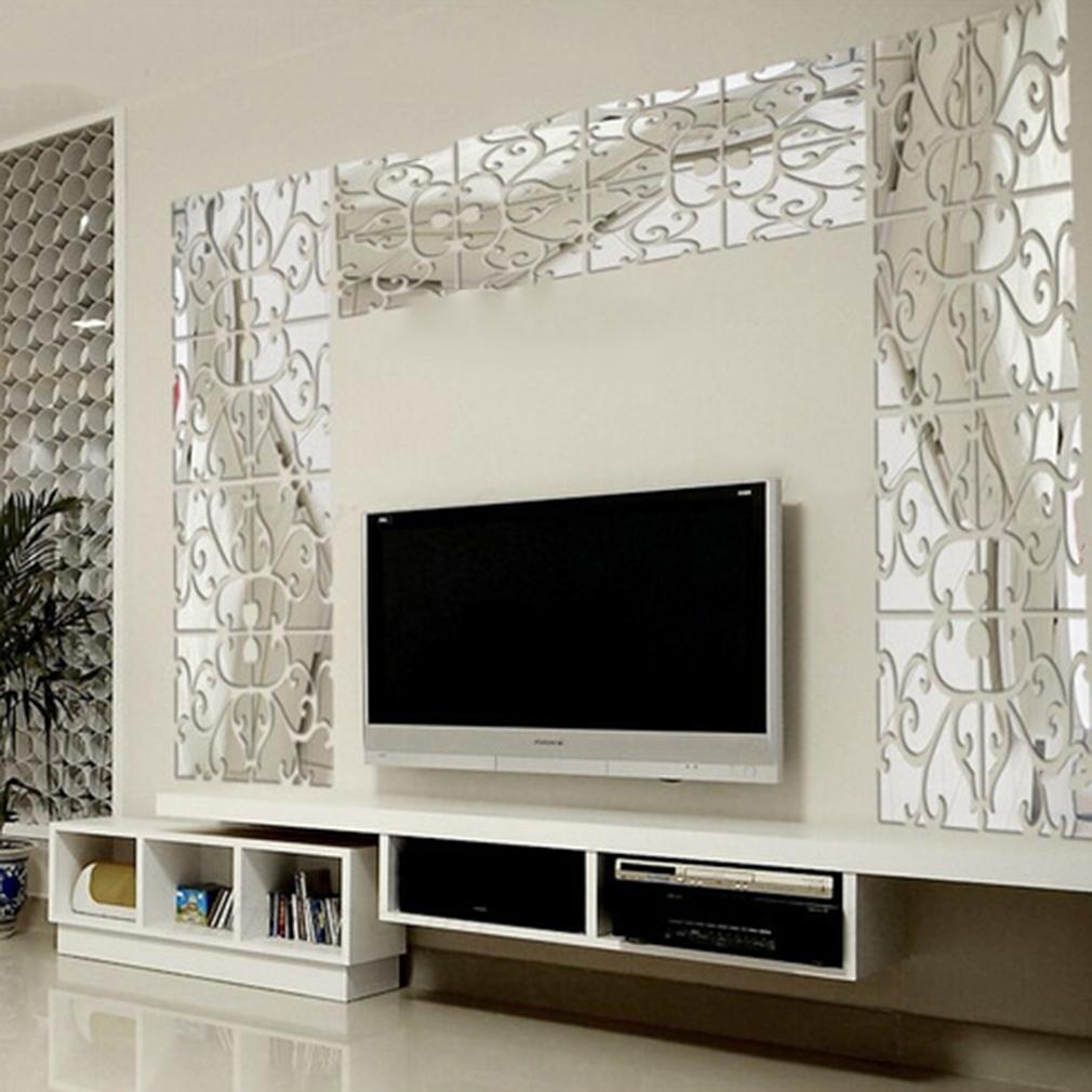 Modern Geometric Plastic Mirror Wall Home Decal Decor