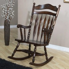 Wood Rocking Chair Styles Desk Armless Country Style In A Walnut Finish By Coaster Relax After Long Day This Featuring Softly Curved Headpiece With Ornamental Carvings Simple Back Slats And Turned Spindle Supports