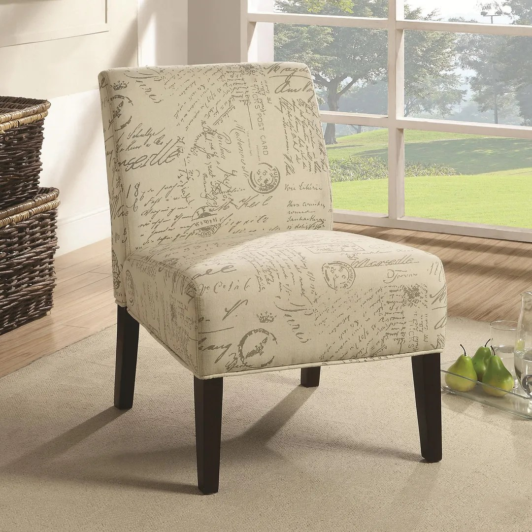 French Script Chair Armless Accent Chair With Vintage French Script Pattern By