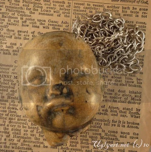 jewelry,pendant,art doll,broken doll head,sideshow low brow,surreal ugly shyla,victorian,steampunk,coc team,gothic horror,ornate primitive,ooak one of a kind,ugly art dolls,weird necklace,etsy
