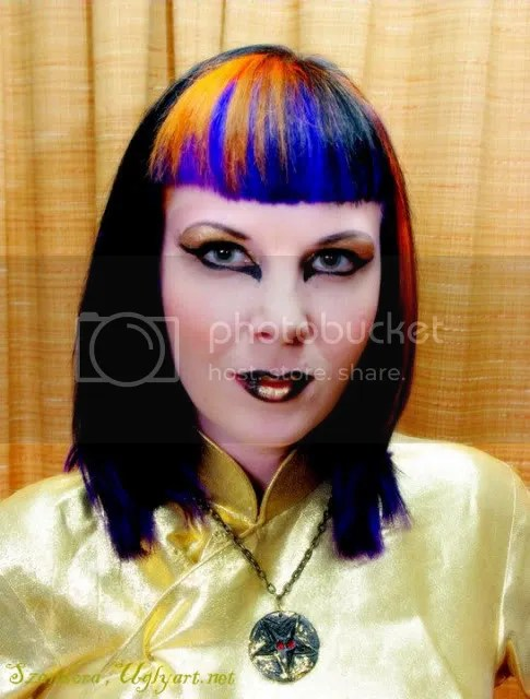 szandora lavey,baphomet,satanic witch,horns,sexy,pink hair,busty,model,fetish,punk,alt,pentagram