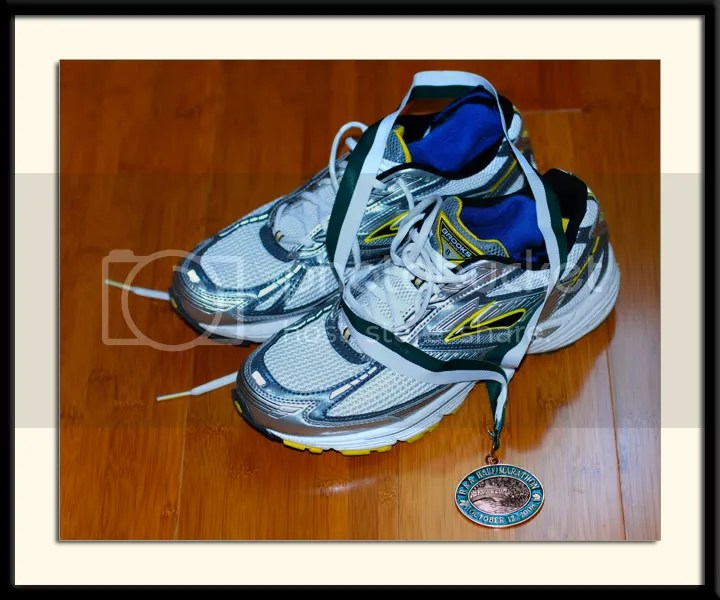 BAA boston half marathon medal Brooks Adrenaline Shoes
