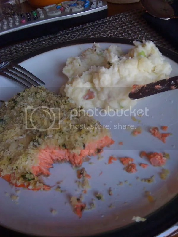 panko salmon and smashed potatoes