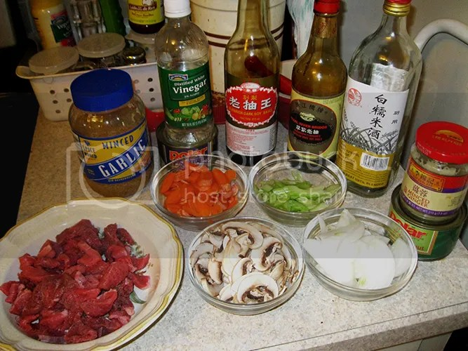 Lomein ingredients w/beef