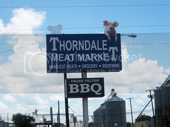 Thorndale Meat Market Sign with cute pig