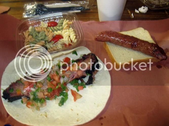 brisket taco sausage wrap and pasta salad