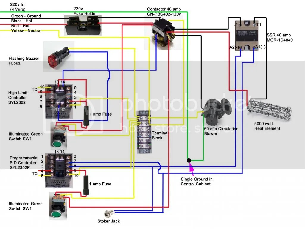 oven heating element wiring diagram dual immersion switch grainger finned heater to auber pid w/new bradley smoke generator