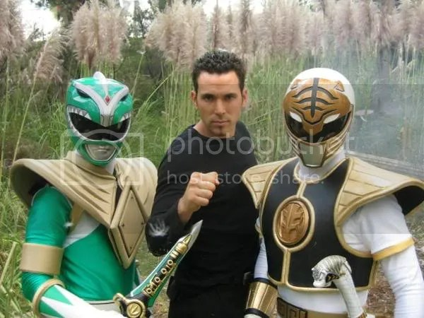 Jason David Frank with the Green & White Power Rangers