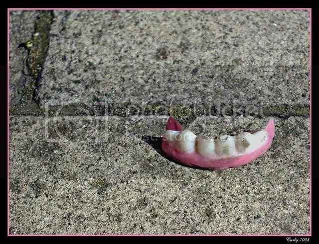 teeth on pavement, South Shields