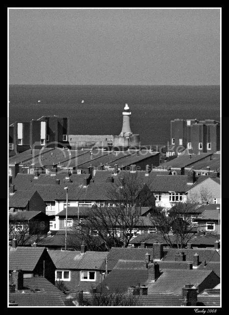 South Shields lighthouse seen from Marsden Craggs