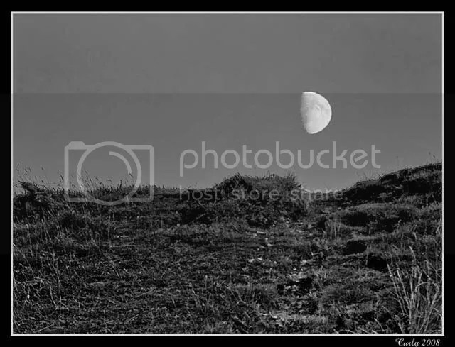 Moon over Cleadon Hills, South Shields