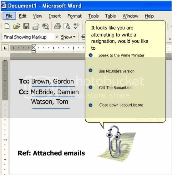 Derek Draper's 'resignation' clippy