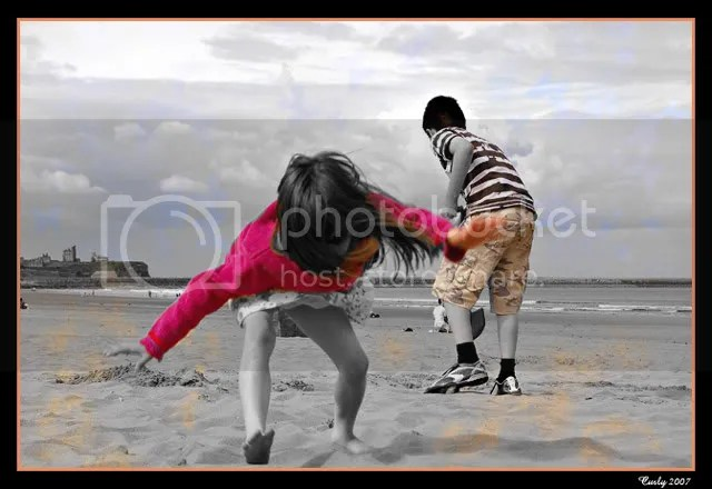 Children on Sandhaven Beach, South Shields