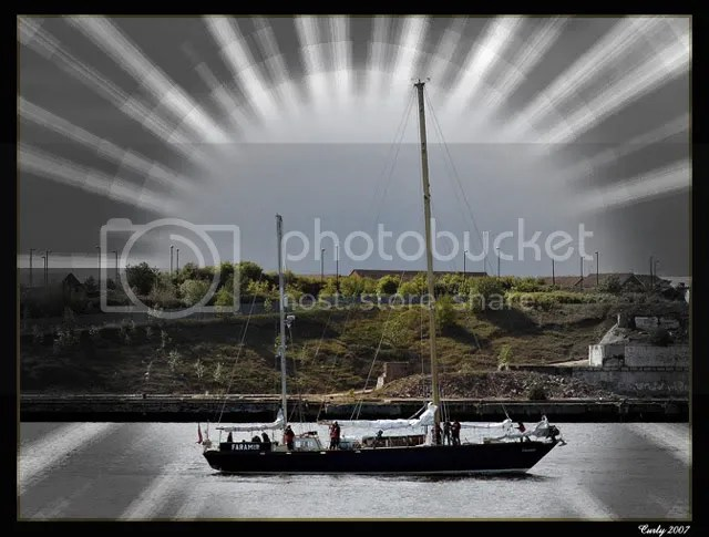 The yacht Faramir leaves the River Tyne