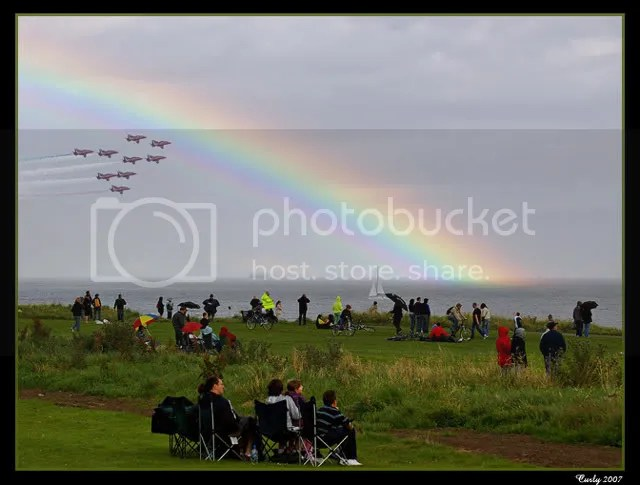 Red Arrows pass under a rainbow, Sunderland Air Show 2007