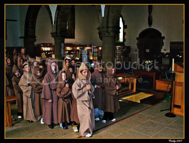 Children dressed as monks, St. Paul's Church, Jarrow, nr South Shields