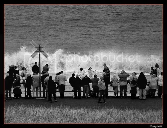 Waiting for the QE2 at South Shields